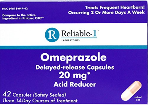 RELIABLE 1 LABORATORIES Omeprazole Delayed-Release Capsules 42 Count, 20Mg Acid Reducer (3 Bottles, 14 Count/ea)