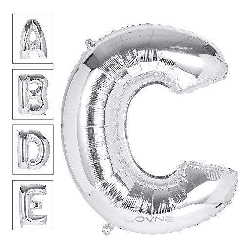Lovne 40 Inch Jumbo Silver Alphabet C Balloon Giant Prom Balloons Helium Foil Mylar Huge Letter Balloons A to Z for Birthday Party Decorations Wedding Anniversary