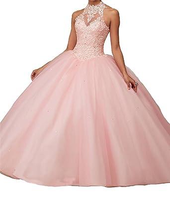 Yang Women High Neck Lace Royal Ball Prom vestido de 15 Quinceanera Dress 0 US Light