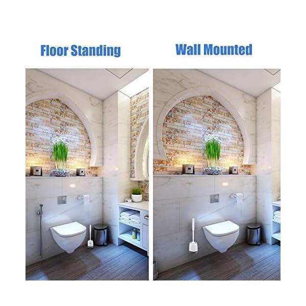 51quJljIsYL Braoses WC Bürste Wandmontage & Stehen Silikon Toilettenbürste mit Halter Set Langer Stiel klobürste und schnell…