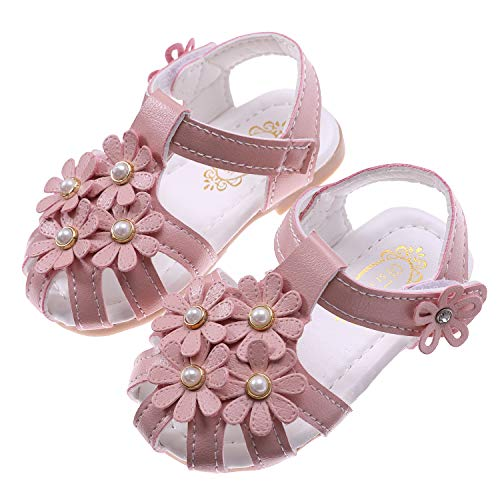 (Toddler Baby Girls Summer Princess Soft Leather Sandals Closed Toe Flat Shoes (Pink Small Flower, 15/4M US toddler))