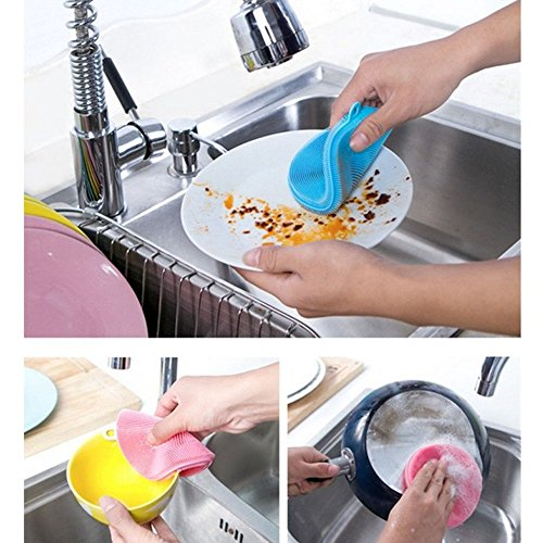 S&M TREADE-Useful Multipurpose Antibacterial Silicone Sponge Cleaning Dish Washing Kitchen Color - How Glasses You Out Of Get Do Scratches