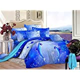 Cliab 3D Dolphin Bedding Set Full Size Blue Ocean Animal Print for Kids Boys Girls Bed Sheets 100% Cotton Duvet Cover Set 4 Pieces