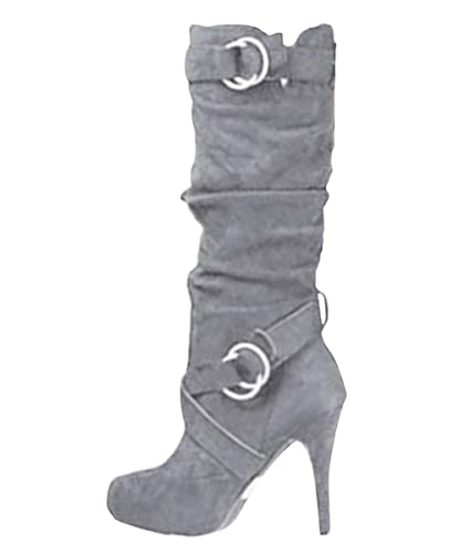 cheap for discount 14567 5973f Minetom Damen Stiefel Hohe Stiefel Lange Stiefel Wildleder Boots High Heels  Sexy Herbst Winter Mode Elegant Chic Schuhe