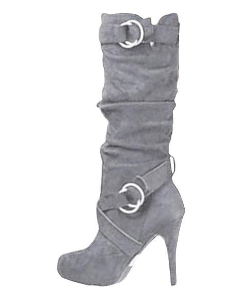 disfruta de un gran descuento lo mas baratas mayor selección de Minetom Mujer Botas Largas De Gamuza Casual Tacones Aguja Altos Zapatos  Otoño Invierno Retro Botas Altas Calentar Moda