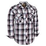 Coevals Club Men's Long Sleeve Casual Western Plaid Snap Buttons Shirt (2XL, 18#Black,White)