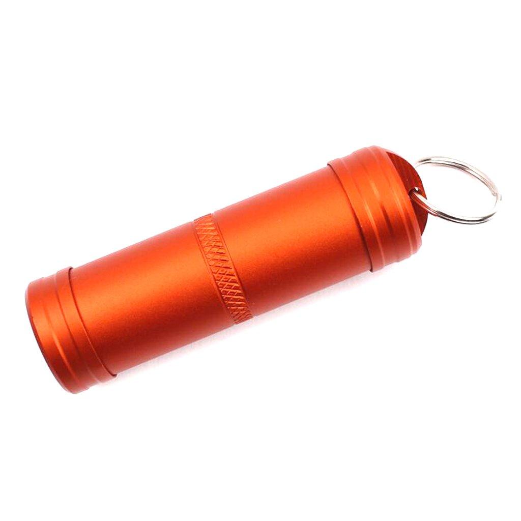 Pilulier Boîte de Pilules Imperméable Porte-clés en Alliage d'Aluminium Orange STK0154002511