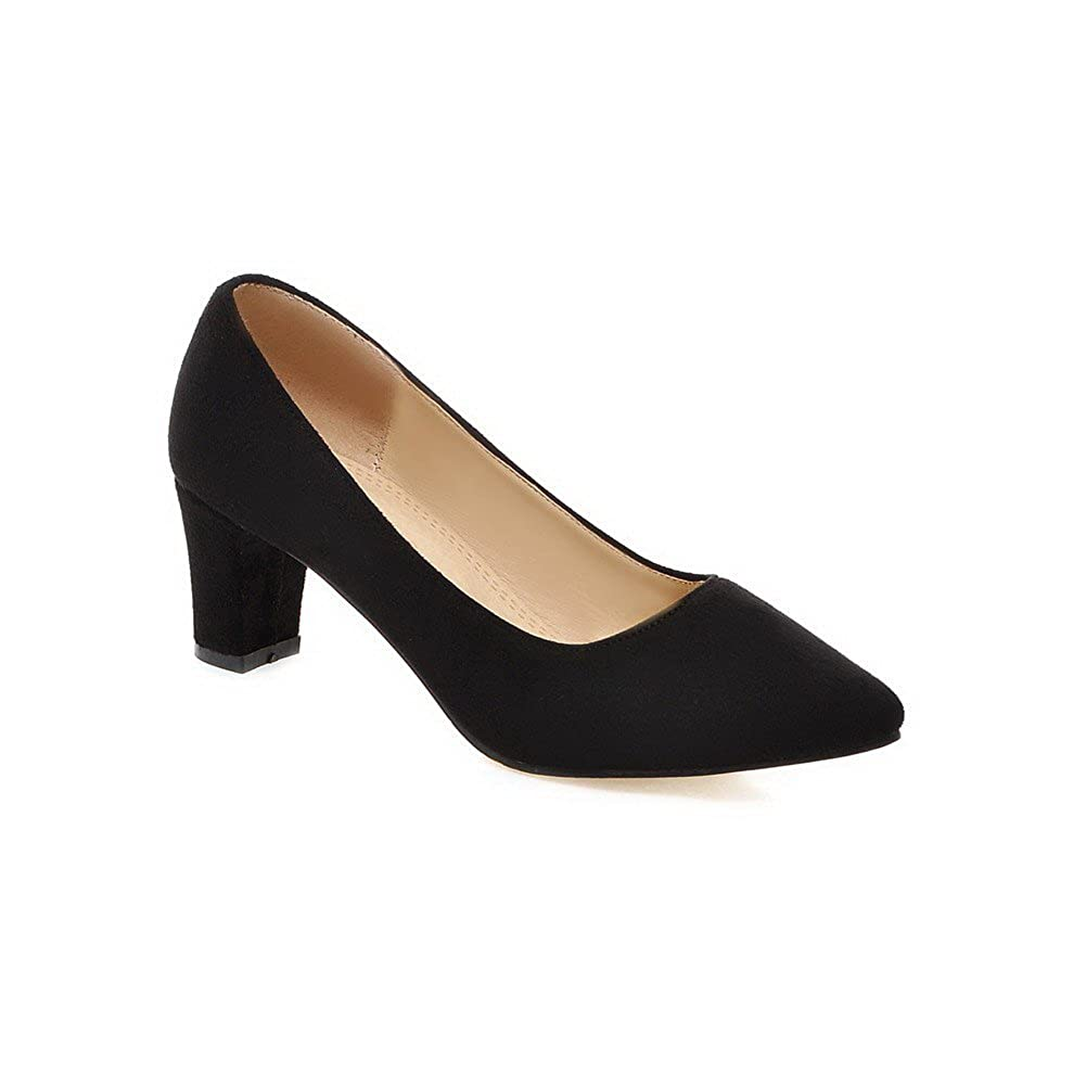 0fbd4be3b3a AgooLar Women s Pull-on Pointed Closed Toe Kitten-Heels Imitated Suede Solid  Pumps-Shoes