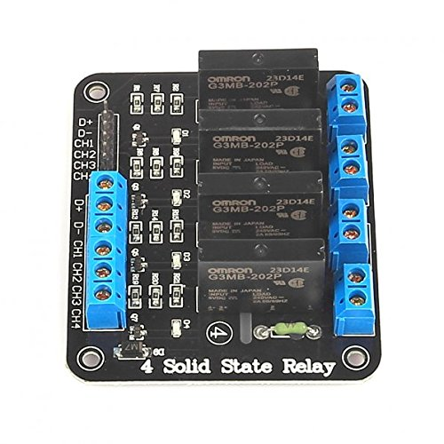 SainSmart 5V 2A 4 Channel Solid State Relay Module High Level Trigger Black for Arduino Uno Duemilanove MEGA2560 MEGA1280 ARM DSP PIC