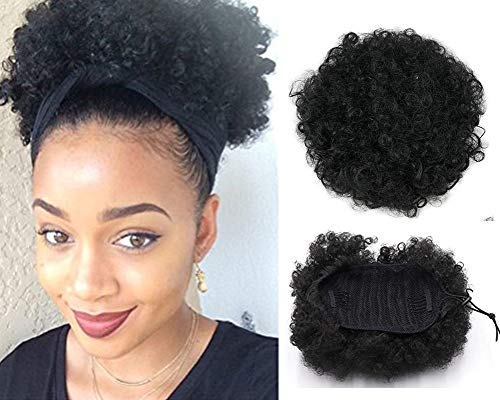(VGTE Beauty Synthetic Curly Hair Ponytail African American Short Afro Kinky Curly Wrap Synthetic Drawstring Puff Ponytail Hair Extensions Wig with Clips(#1B))