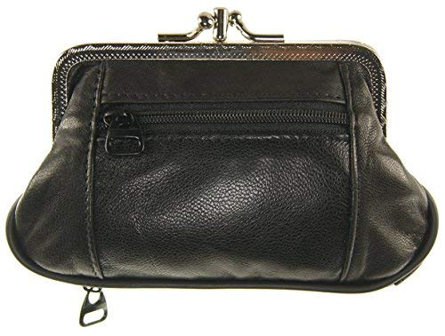 (Womens Leather Metal Frame Double Kiss Lock Coin or Change Purse (Black))