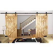 Diyhd 10ft Arrow Style Double Sliding Barn Door Hardware Bi-parting Barn Door Track System