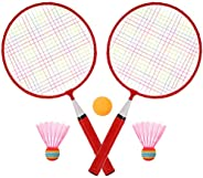 Garneck Conjunto de badminton infantil para esportes em ambientes internos e externos, raquetes de badminton e