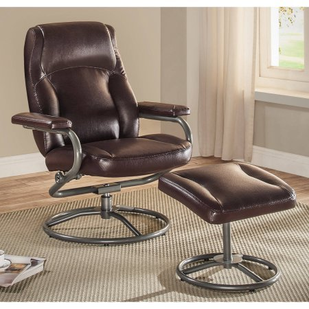 (Sturdy Metal Tube Frame and Plush Pillowed Layers Recliner/Ottoman Set (Brown))