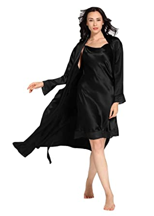 1da4bf41b92 LilySilk Silk Nightgown Bathrobe 2pcs Set for Women Lace Patched Cute 22  Momme 100% Mulberry