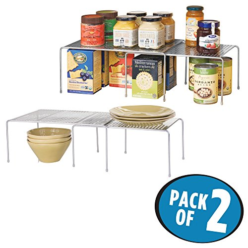 mDesign Adjustable Kitchen Cabinet, Pantry, Countertop Organizer Storage Shelves: Expandable and Stackable, Durable Steel, Non-skid Feet – Pack of 2, Silver by mDesign
