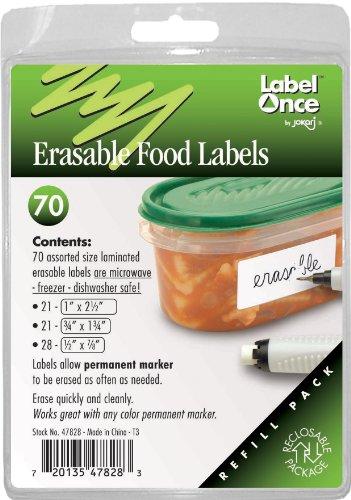 Jokari Label Once Erasable Food Labels Refill Pack, - Jokari Erasable Food Labels