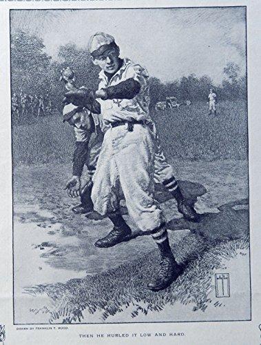 Franklin T. Wood (baseball pitcher) print art, original rare 1913 The Youth's Companion Magazine Art