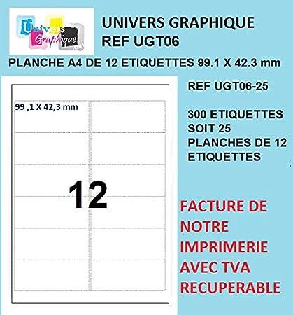 25 A4 hoja 12 etiqueta de papel etiqueta adhesiva 99 x 42,3 ...