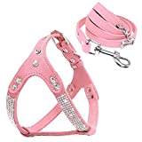 """Beirui Soft Suede Rhinestone Leather Dog Harness Leash Set Cat Puppy Sparkly Crystal Vest & 4 ft lead for Small Medium Cats Pets Chihuahua Poodle Shih Tzu,Pink,Small chest for 14-15.5"""""""