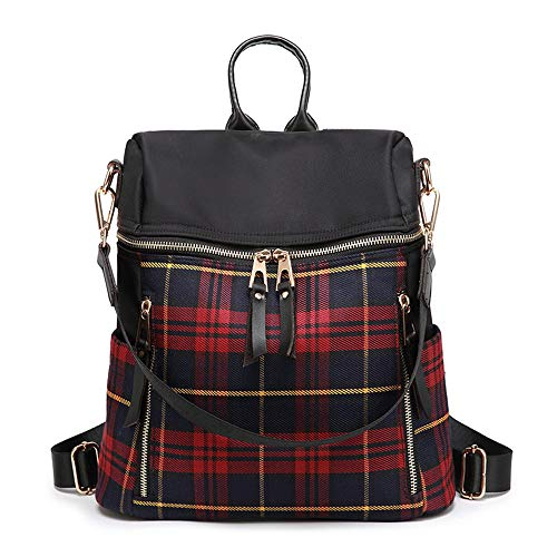 - Women Backpack Purse Waterproof Nylon Leather Backpack Fashion Travel Bag Plaid Backpack (Red)