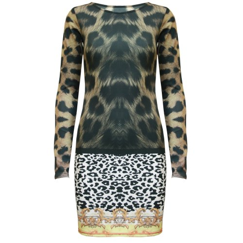 Be Jealous Damen Kleid Black Dark Leopard - Bandage Full Sleeves New Rb0pWJyFf