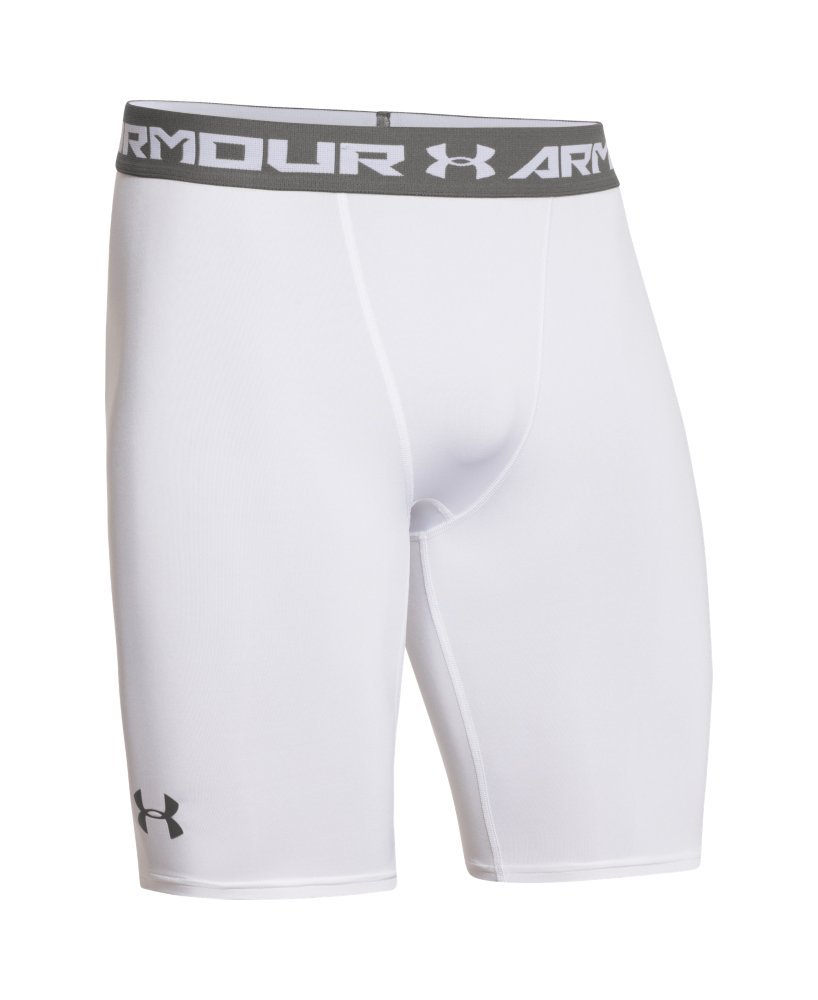 Under Armour Men's HeatGear Armour Compression Shorts – Long, White (100)/Graphite, Medium by Under Armour (Image #4)