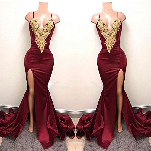 Applikationen Seitliche Sexy Party Teilung Lange Meerjungfrau Abendkleid Kleider Lovelybride Burgund 5vCwqnU