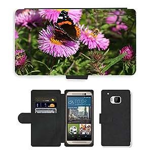 PU LEATHER case coque housse smartphone Flip bag Cover protection // M00115351 Feria Almirante mariposa otoño // HTC One M9