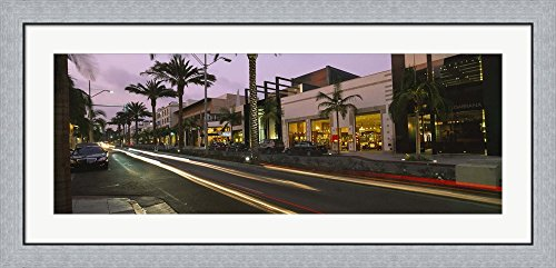 Stores on the roadside, Rodeo Drive, Beverly Hills, California, USA by Panoramic Images Framed Art Print Wall Picture, Flat Silver Frame, 44 x 20 - Stores On Drive Beverly