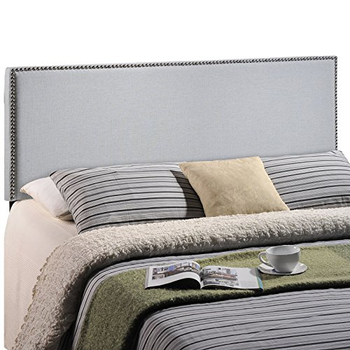 Modway Region Upholstered Linen Headboard Full Size With Nailhead Trim In Sky Gray