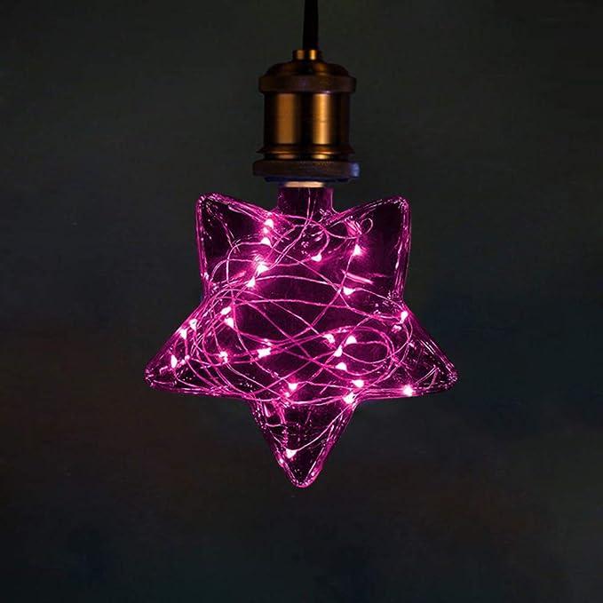 LED Navidad Vistoso Edison Bombilla, E27 Vintage Bombilla de Filamento 3W Antiguo LED Bombilla de Decorativa Pentagrama Forma (Gypsophila) for Casa, ...