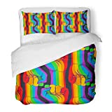 Emvency Bedding Duvet Cover Set Twin (1 Duvet Cover + 1 Pillowcase) Striped Hand Showing Fist Raised Up Gay Rights Realistic in Rainbow Colors LGBT Hotel Quality Wrinkle and Stain Resistant