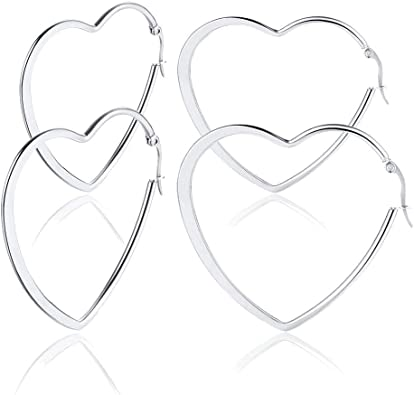 pair Stainless Steel 4 Color Heart I Love Me Circle Stud Earrings