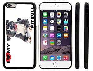 Rikki KnightTM I Love My Black Pitbull Dog Design iPhone 6 Plus Case Cover (Black Rubber with front bumper protection) for Apple iPhone 6 Plus