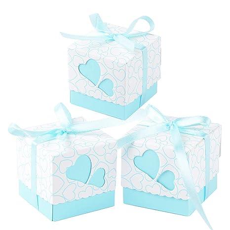 100 × Cajas de Caramelo Dulces Bombones para Boda Fiestas Cumpleaños Bautizo Detalles Recuerdos Decoración Favor para Invitados de Boda (Azul)