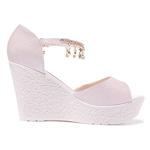 Toe Platform Wedge Ankle Women's Strap Sandals Pink Open WENDYWU qUP4fwxWgE