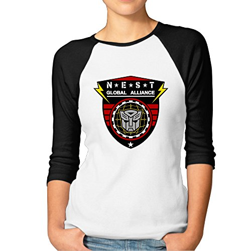 P-Jack Women's Transformers NEST Customized 100% Cotton Three-Quarter Sleeve Raglan Crew-Neck Summer T-Shirts Black M - Strange Nests