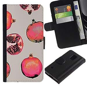 All Phone Most Case / Oferta Especial Cáscara Funda de cuero Monedero Cubierta de proteccion Caso / Wallet Case for Samsung Galaxy S5 V SM-G900 // Red Fruit Painting