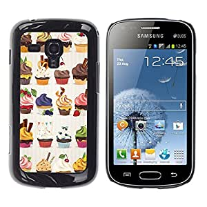 All Phone Most Case / Hard PC Metal piece Shell Slim Cover Protective Case Carcasa Funda Caso de protección para Samsung Galaxy S Duos S7562 cupcake bakery sweets dessert cherry