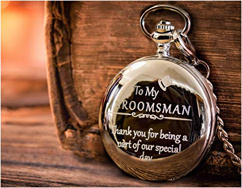 Groomsman Gifts for Wedding – Engraved Groomsman Pocket Watch for Groomsmen Gift by FREDERICK JAMES
