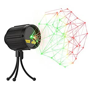 Laser Lights Christmas LED Projector Star Laser Shower with RF Remote Controller IP65 Waterproof Outdoor Indoor Green and Red Star Light for Xmas, Holiday, Party and Garden Decoration