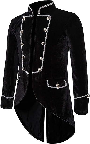 Men Retro Gothic Steampunk Coat Jacket Velvet European Court Gothic Evening Gown