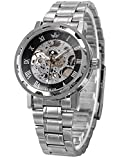 AMPM24 Transparent Black Silver Mens Skeleton Hand-winding Mechanical Wrist Watch Gift PMW220