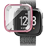Ljnuanrg for Fitbit Versa Screen Protector Case ,Electroplated TPU All-Inclusive Case (Rose Gold, ONE)