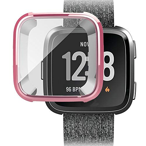- Ansenesna Watch Bands for Men for Fitbit Versa Screen Protector Case Full 360 Protection Gel Bumper Cover (Rose Gold)