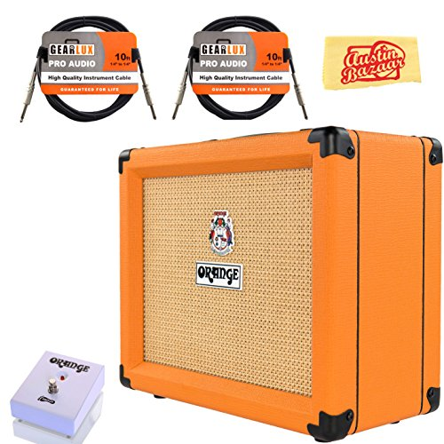 Orange Crush 20RT Guitar Combo Amplifier Bundle with Orange FS-1 Footswitch, Instrument Cables, and Austin Bazaar Polishing Cloth ()