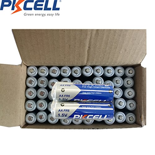 PKCELL 1.5V AA Li-Fe FR6 Lithium Battery for High Drain Devices 60PC by PK Cell