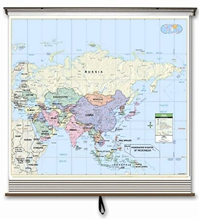 Amazon.com : Eastern Hemisphere Primary Wall Map Set on Roller w ...