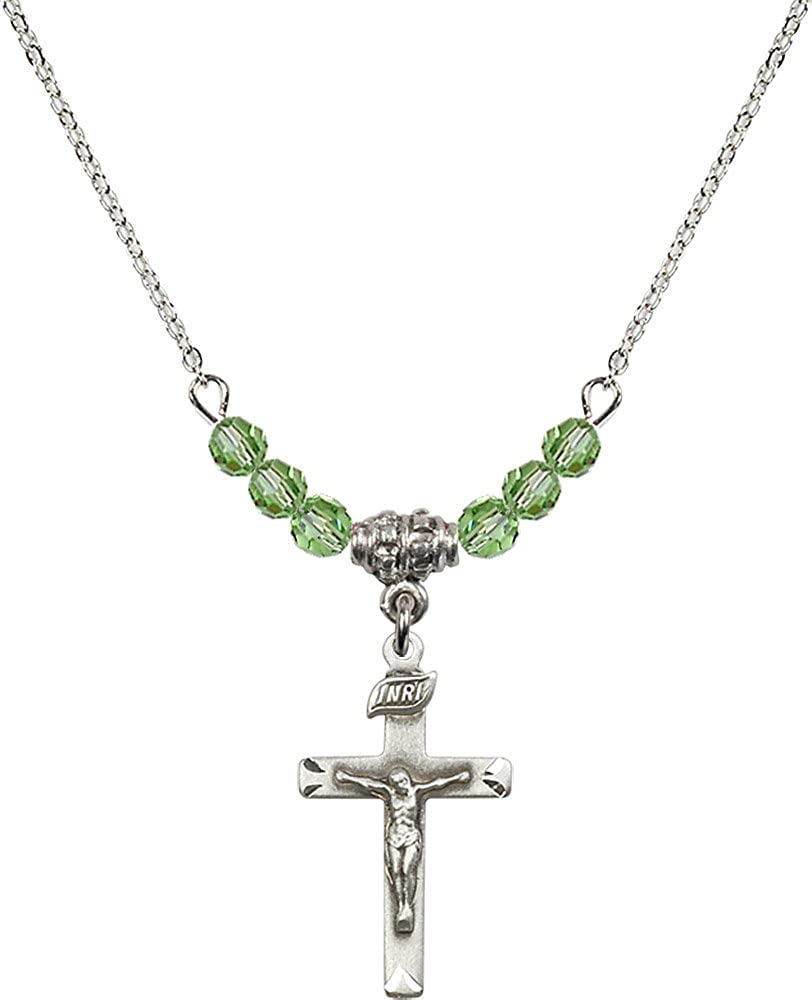 18-Inch Rhodium Plated Necklace with 4mm Peridot Birthstone Beads and Sterling Silver Crucifix Charm.